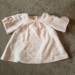 Girls Tahari Pale Pink & Gray Polka Dot Tied Shirt